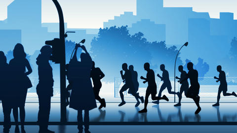 Silhouettes of street runners Animation