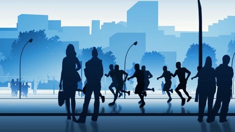 Silhouettes of street runners Stock Video Footage