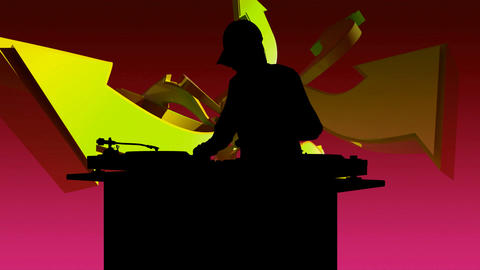 dj silouette 2 Stock Video Footage