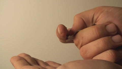 Man Taking A Pill From Blister Pack, Pharmaceutica stock footage