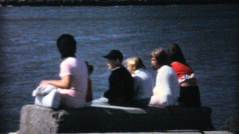 Family Watches Big Ship Pass By In Ocean 1967 Footage