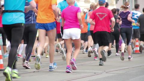 People running at half Marathon event Footage