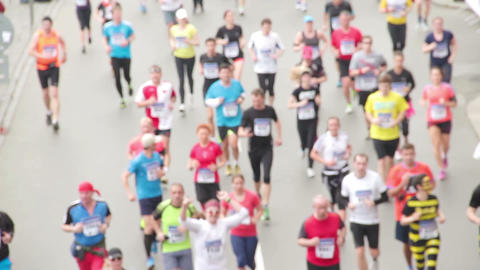 People running at half Marathon event Footage
