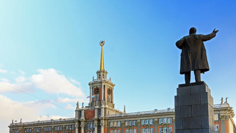 Yekaterinburg, the city hall. Russia. Time Lapse.  Footage