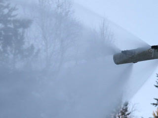 The Work Of A Snow Cannon. Creation Of Snow On The stock footage