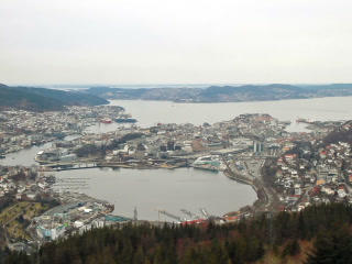 View from the cabin funicular. Bergen, Norway. 320 Footage