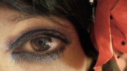 Eye macro woman look in camera sweet Footage