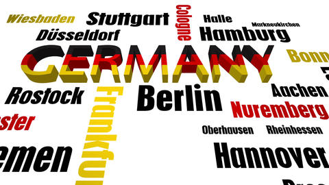 Germany Cities Word Cloud on White Animation
