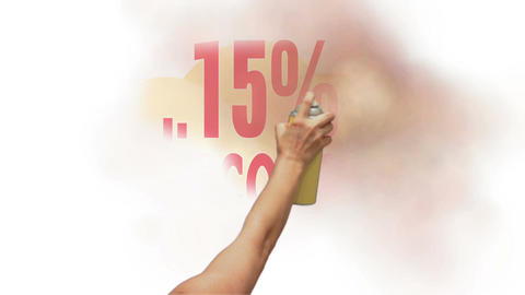 15 Percent Discount Spray Painting stock footage