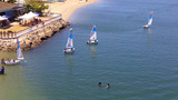 Kids Learning To Sail In Small Boats 1 stock footage