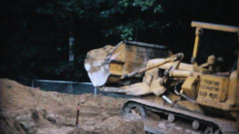 Bulldozer Digging Dirt On Work Site 1967 Vintage Live Action