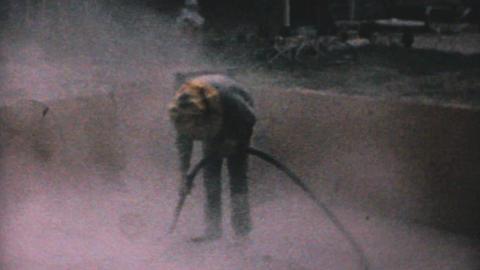 Worker Sand Blasting Concrete 1967 Vintage 8mm Footage