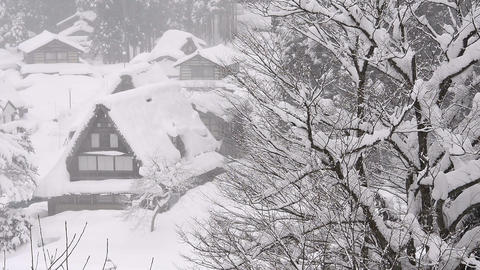 Winter landscape of the Village,in Toyama,Japan Footage