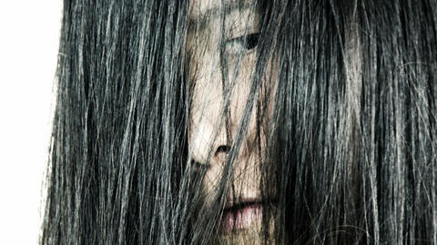 Scary Face Of Asian Woman Appearing Horror Movie stock footage