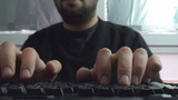 Detail Of Fingers Typing On A Illuminated Keyboard Footage