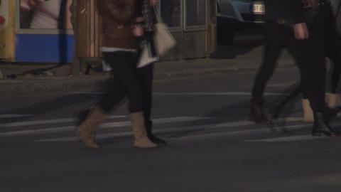 Pedestrians Crossing The Street Side-Shot stock footage