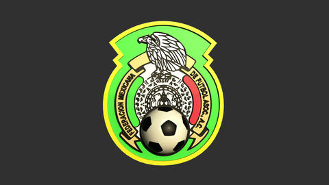 3D Mexico Team Badge Rotating Matte & Fill 2 Animation