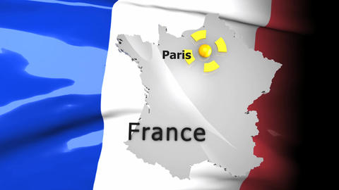 Crisis Map France stock footage