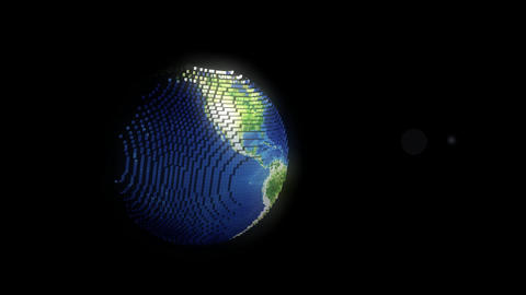 Planet earth pixelated in digital ages Animation