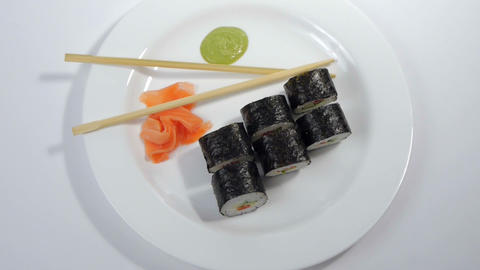 Sushi Isolated On White Background stock footage