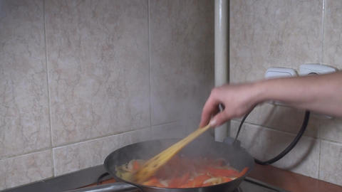 Chicken Stroganoff Bell Pepper And Onion Cooking I Footage