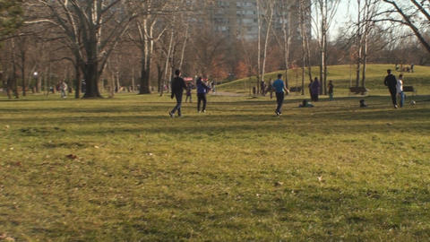 Family In The Park Playing Soccer Follow- Shot stock footage