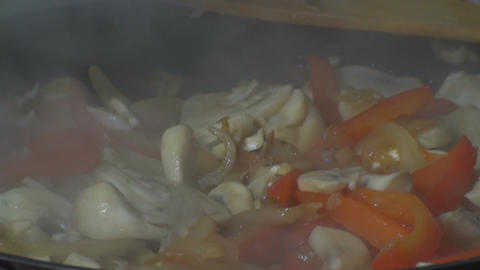 Chicken Stroganoff Vegetables Cooking Steam Close  Footage