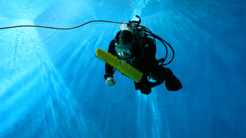 Diver Cleaning An Aquarium stock footage