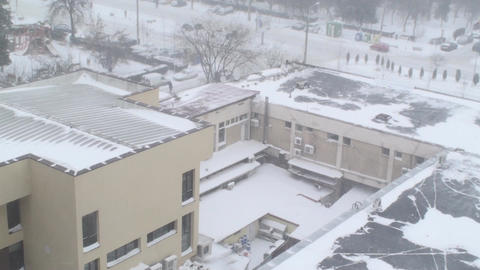Extreme Blizzard Business Complex Aerial Disaster, Footage
