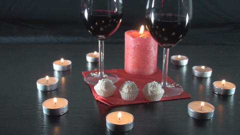 Romantic Date With Two Glasses Of Wine Candles And Footage