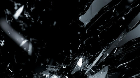 Broken and Shattered glass with slow motion. Alpha Animation