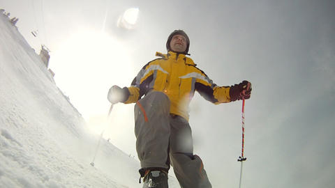 Alpine Skier Skiing Short Swings On Ski Slope On S stock footage