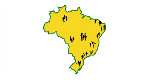 Map Of Brazil. The Cities In Which The World Cup T stock footage