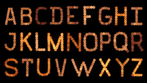Lightbulb Alphabet. Flickering stock footage