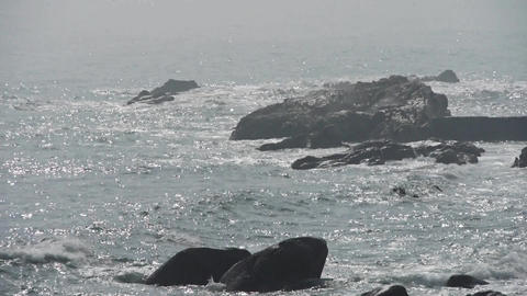 sea ocean wave,waves lapping the rocks Animation
