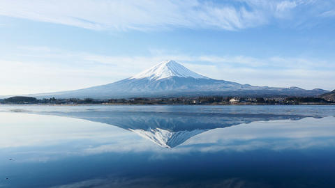 a inverted image of Mt. Fuji Footage