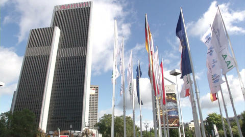 Skyscraper in Frankfurt, with flags during IAA Footage
