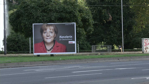 Angela Merkel poster during presidential campaign Footage