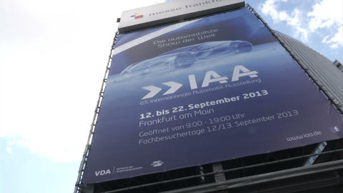 IAA sign at the entrance of exhibition centre Footage