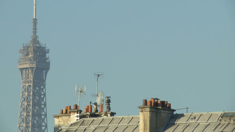Tour Eiffel and typical french roof Footage