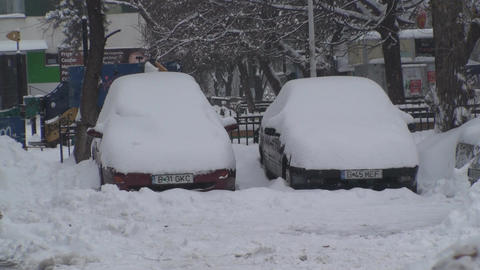 Cars Buried Under Snow Footage