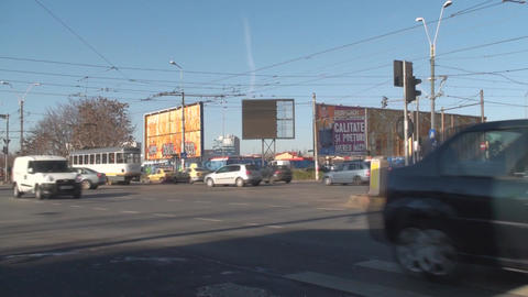 Morning Traffic On A Sunny Day In Bucharest Side-S stock footage