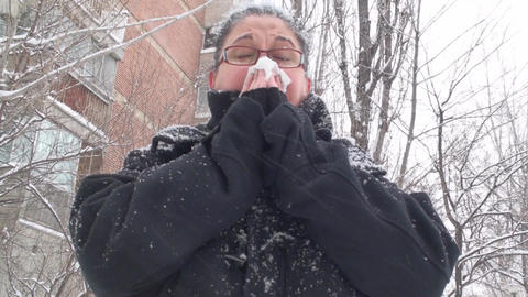 Mature Woman Blowing Her Nose Live Action