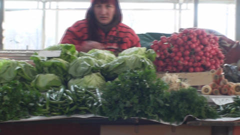 Vegetables On A Stand In A Market Still-Shot stock footage