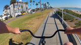 POV Bicycle Riding At Bluff Park In Long Beach stock footage