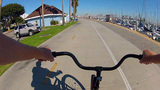 POV Bike Riding The Long Beach Fitness Path stock footage
