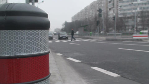 Macro-Shot Of A Pole And Traffic Side-Shot Footage