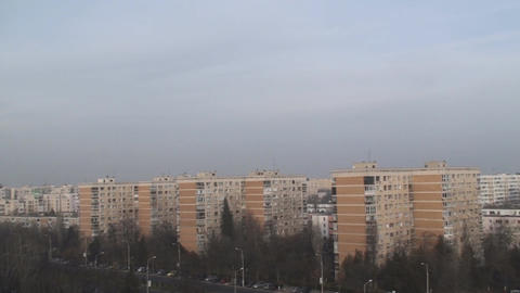 Communist Era Apartment Buildings Aerial Pan-Shot Live Action