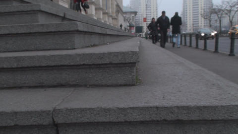 Concrete Stairs Macro And People Walking By Footage
