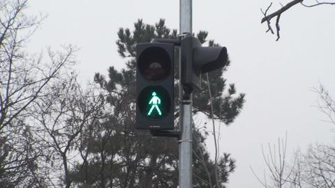 Traffic Lights Green For Pedestrians Still-Shot Footage